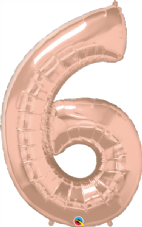 Number 6 Rose Gold Super Shape Number Foil Balloon